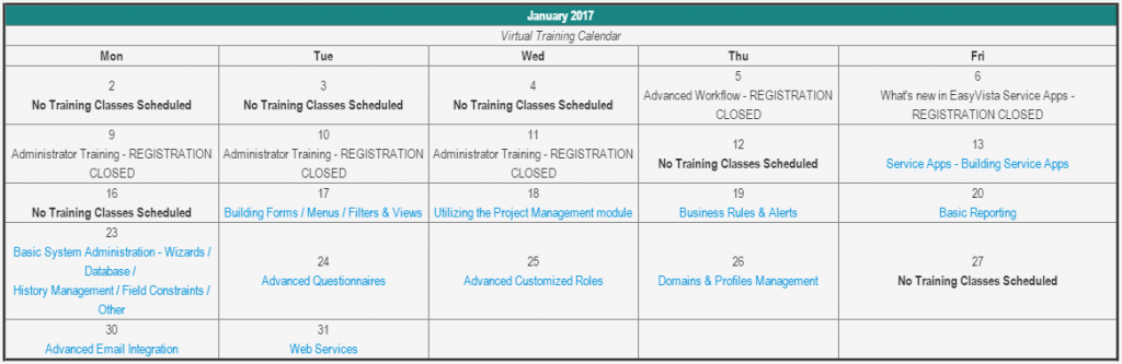 ITSM Virtual Learning: January